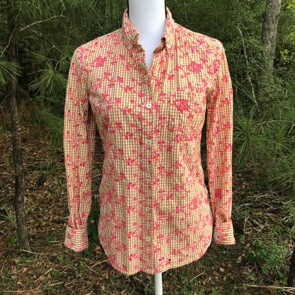 a8bb75f5 Anthropologie Tops - Anthropologie Odille Gingham Eyelet Blouse Shirt